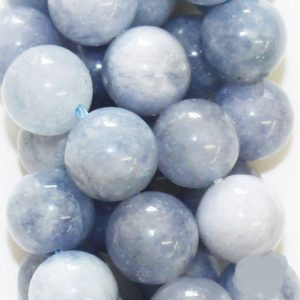 "Shop Quartz Crystal Beads! Natural Quartz Beads, Aquamarine Color Beads – Round 10 mm Gemstone Beads – Full Strand 15"", 38 beads, A Quality 