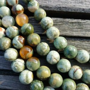 Shop Rainforest Jasper Beads! Rainforest Rhyolite 7.5-8.5mm Round Beads (etb00363) | Natural genuine round Rainforest Jasper beads for beading and jewelry making.  #jewelry #beads #beadedjewelry #diyjewelry #jewelrymaking #beadstore #beading #affiliate #ad