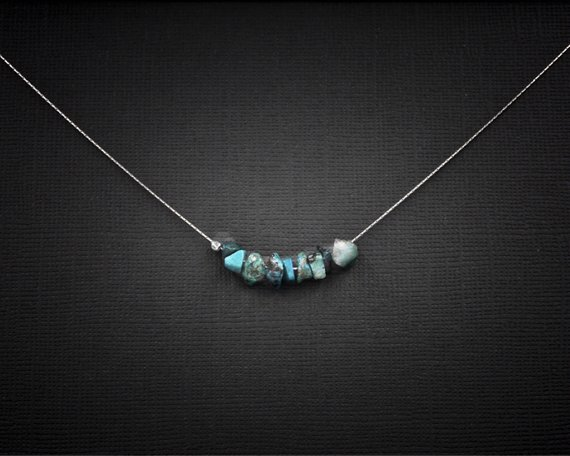 Raw Chrysocolla Necklace, Calming Necklace, Anxiety Necklace, Mindfulness Gift
