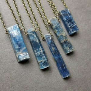 Shop Healing Gemstone & Crystal Pendants! Blue Kyanite Necklace – Kyanite Pendant – Semi Raw Gemstone Necklace – Kyanite Jewelry – Natural Blue Stone Necklace – Boho Crystal Necklace | Natural genuine Gemstone pendants. Buy crystal jewelry, handmade handcrafted artisan jewelry for women.  Unique handmade gift ideas. #jewelry #beadedpendants #beadedjewelry #gift #shopping #handmadejewelry #fashion #style #product #pendants #affiliate #ad
