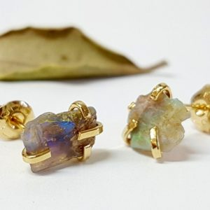 Raw opal earrings, genuine opal earrings, natural opal earrings, opal stud earrings, opal studs, opal stud earrings gold, jewelry gift idea | Natural genuine Opal earrings. Buy crystal jewelry, handmade handcrafted artisan jewelry for women.  Unique handmade gift ideas. #jewelry #beadedearrings #beadedjewelry #gift #shopping #handmadejewelry #fashion #style #product #earrings #affiliate #ad