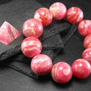 Shop Rhodochrosite Jewelry! Rhodochrosite Genuine Bracelet ~ 8 Inches ~ 20mm Round Beads | Natural genuine Rhodochrosite jewelry. Buy crystal jewelry, handmade handcrafted artisan jewelry for women.  Unique handmade gift ideas. #jewelry #beadedjewelry #beadedjewelry #gift #shopping #handmadejewelry #fashion #style #product #jewelry #affiliate #ad