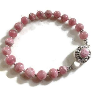Shop Rhodochrosite Bracelets! Rhodochrosite Bracelet – Pink Jewelry – Sterling Silver – Natural Gemstone Jewellery – Unique – Box Clasp | Natural genuine Rhodochrosite bracelets. Buy crystal jewelry, handmade handcrafted artisan jewelry for women.  Unique handmade gift ideas. #jewelry #beadedbracelets #beadedjewelry #gift #shopping #handmadejewelry #fashion #style #product #bracelets #affiliate #ad