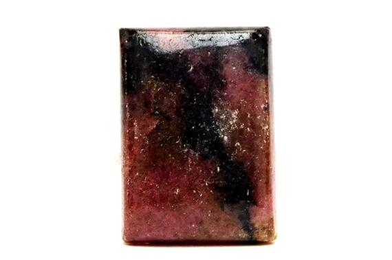 Rhodonite Cabochon Stone (25mm X 18mm X 8mm) 38cts - Rectangle Cabochon