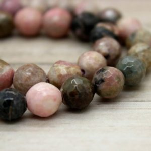 Shop Rhodonite Beads! Rhodonite Round Faceted Gemstone Beads (8mm 10mm) | Natural genuine gemstone beads for making jewelry in various shapes & sizes. Buy crystal beads raw cut or polished for making handmade homemade handcrafted jewelry. #jewelry #beads #beadedjewelry #product #diy #diyjewelry #shopping #craft #product
