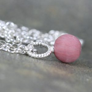 Shop Rhodonite Pendants! May Savings Matte Rhodonite Pendant – Rustic Rhodonite Necklace – Sterling Silver Layering Necklace – Pink Gemstone Pendant | Natural genuine Rhodonite pendants. Buy crystal jewelry, handmade handcrafted artisan jewelry for women.  Unique handmade gift ideas. #jewelry #beadedpendants #beadedjewelry #gift #shopping #handmadejewelry #fashion #style #product #pendants #affiliate #ad