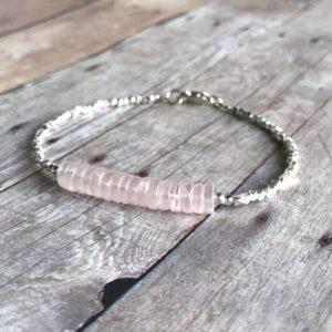Shop Rose Quartz Jewelry! Rose Quartz Jewelry | Pink Quartz Bracelet | Natural Gemstone Beaded Bracelet | Women's Sterling Silver Small Bead Bracelet | Natural genuine Rose Quartz jewelry. Buy crystal jewelry, handmade handcrafted artisan jewelry for women.  Unique handmade gift ideas. #jewelry #beadedjewelry #beadedjewelry #gift #shopping #handmadejewelry #fashion #style #product #jewelry #affiliate #ad