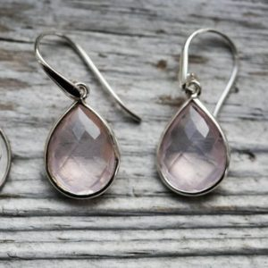 Shop Rose Quartz Earrings! Rose Quartz Earrings – Rose Quartz Checkerboard Cut Earrings – Sterling Sliver Rose Quartz Earrings – Rose Quartz Dangles Earrings – Rose | Natural genuine Rose Quartz earrings. Buy crystal jewelry, handmade handcrafted artisan jewelry for women.  Unique handmade gift ideas. #jewelry #beadedearrings #beadedjewelry #gift #shopping #handmadejewelry #fashion #style #product #earrings #affiliate #ad