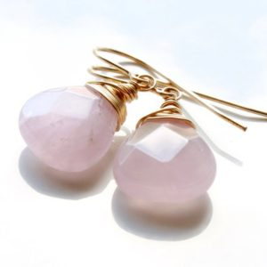 Shop Rose Quartz Earrings! Rose Quartz Earrings, Goldfill or Sterling Silver wire wrap, natural rose pink gemstone, minimalist, simple, dangle, gift for her, 4883 | Natural genuine Rose Quartz earrings. Buy crystal jewelry, handmade handcrafted artisan jewelry for women.  Unique handmade gift ideas. #jewelry #beadedearrings #beadedjewelry #gift #shopping #handmadejewelry #fashion #style #product #earrings #affiliate #ad