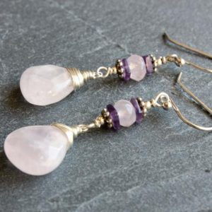 Shop Rose Quartz Earrings! Rose Quartz Amethyst Sterling Silver Earrings natural pink purple gemstone boho statement long dangle drops mom wife sister gift 4930 | Natural genuine Rose Quartz earrings. Buy crystal jewelry, handmade handcrafted artisan jewelry for women.  Unique handmade gift ideas. #jewelry #beadedearrings #beadedjewelry #gift #shopping #handmadejewelry #fashion #style #product #earrings #affiliate #ad