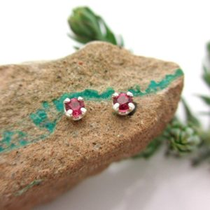 Ruby Studs – Genuine Ruby Stud Earrings, Real 14k Gold, Platinum, Or Sterling Silver – 3mm | Natural genuine Array jewelry. Buy crystal jewelry, handmade handcrafted artisan jewelry for women.  Unique handmade gift ideas. #jewelry #beadedjewelry #beadedjewelry #gift #shopping #handmadejewelry #fashion #style #product #jewelry #affiliate #ad