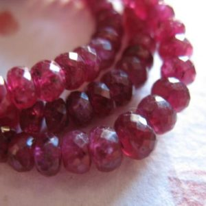 Shop Ruby Faceted Beads! 5-100 pcs / RUBY RONDELLES Beads, Faceted, Luxe AAA, 3.25-4 mm / Genuine Cranberry Red, not dyed, july birthstone tr r ox 34 nd | Natural genuine faceted Ruby beads for beading and jewelry making.  #jewelry #beads #beadedjewelry #diyjewelry #jewelrymaking #beadstore #beading #affiliate #ad