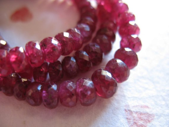 5-50 Pcs, Ruby Rondelles Beads, Faceted, Luxe Aaa, 3.25-4 Mm, Undyed Genuine, Cranberry Red, July Birthstone, Tr R Ox 34 Nd