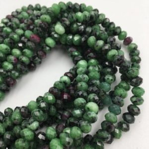 "Natural Ruby Zoisite Faceted Rondelle Beads 2x3mm 4x6mm 5x8mm 6x10mm 15.5"" Strd 