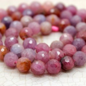Natural Faceted Ruby Round Beads Gemstone (5mm 6mm 8mm 10mm) | Natural genuine faceted Ruby beads for beading and jewelry making.  #jewelry #beads #beadedjewelry #diyjewelry #jewelrymaking #beadstore #beading #affiliate #ad