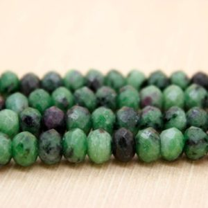 Natural Ruby Zoisite Faceted Rondelle Natural Gemstone Loose Beads (4mm x 6mm, 5mm x 8mm, 6mm x 10mm) | Natural genuine faceted Ruby Zoisite beads for beading and jewelry making.  #jewelry #beads #beadedjewelry #diyjewelry #jewelrymaking #beadstore #beading #affiliate #ad