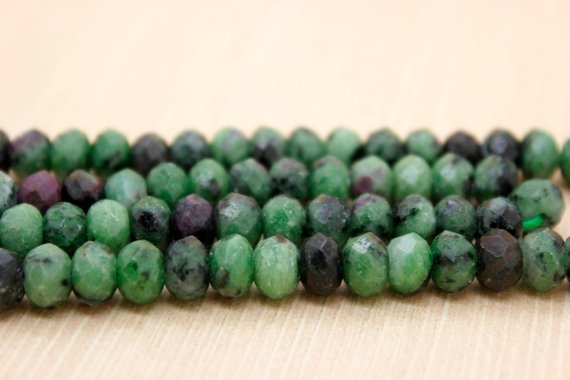 Natural Ruby Zoisite Faceted Rondelle Natural Gemstone Loose Beads (4mm X 6mm, 5mm X 8mm, 6mm X 10mm)