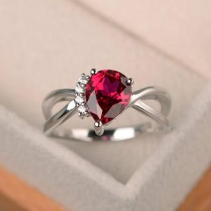 Shop Ruby Rings! Anniversary ring, ruby ring, pear cut red gemstone, July birthstone, sterling silver ring | Natural genuine Ruby rings, simple unique handcrafted gemstone rings. #rings #jewelry #shopping #gift #handmade #fashion #style #affiliate #ad