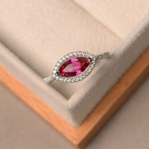 Shop Ruby Rings! created ruby ring, July birthstone ring, marquise cut, sterling silver ring, halo ring | Natural genuine Ruby rings, simple unique handcrafted gemstone rings. #rings #jewelry #shopping #gift #handmade #fashion #style #affiliate #ad