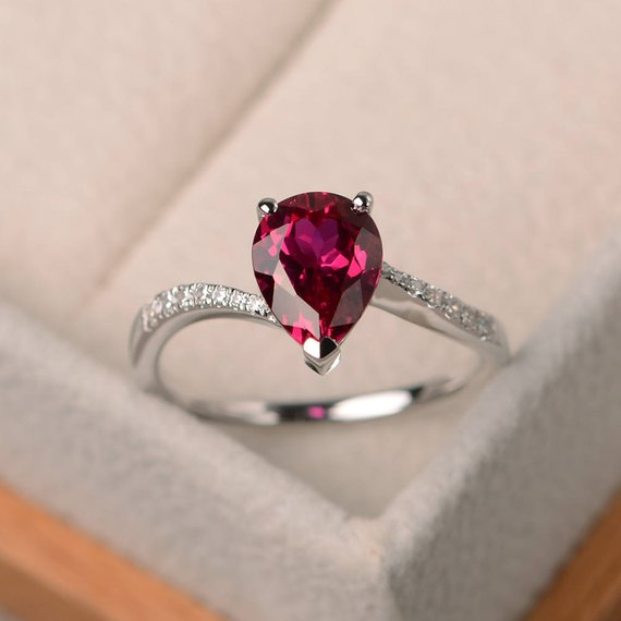 Engagement Ring, Ruby Ring, Pear Cut Red Gemstone, July Birthstone, Sterling Silver Ring