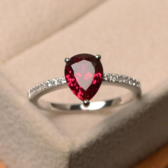 Ruby Ring Wedding Ring Solitaire Ring Oval Cut Red Gemstone Ring July Birthstone Sterling Silver Ring