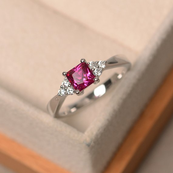 Lab Ruby Ring, Princess Cut Red Gemstone, July Birthstone, Engagement Ring, Sterling Silver, Promise Ring