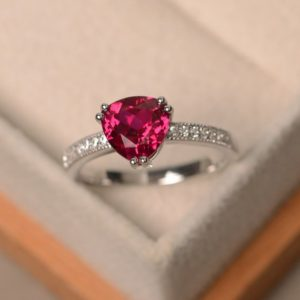 Lab ruby ring, trillion cut red gemstone, July birthstone, engagement ring, sterling silver, promise ring | Natural genuine Array rings, simple unique alternative gemstone engagement rings. #rings #jewelry #bridal #wedding #jewelryaccessories #engagementrings #weddingideas #affiliate #ad