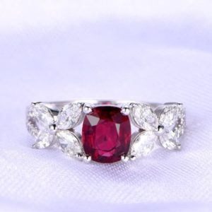Ruby Ring Moissanite Wedding Band 5x6mm Cushion Cut Ruby Art Deco Moissanite Wedding Band Marquise Style Ring 14k White Gold Bridal Ring | Natural genuine Gemstone rings, simple unique alternative gemstone engagement rings. #rings #jewelry #bridal #wedding #jewelryaccessories #engagementrings #weddingideas #affiliate #ad