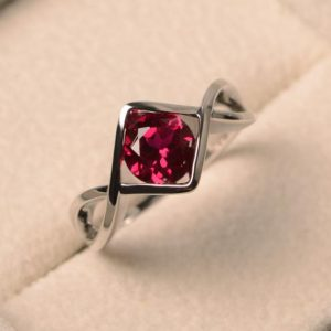 Shop Ruby Rings! Ruby promise rings, July birthstone rings, round cut red stone, sterling silver rings, solitaire ring | Natural genuine Ruby rings, simple unique handcrafted gemstone rings. #rings #jewelry #shopping #gift #handmade #fashion #style #affiliate #ad