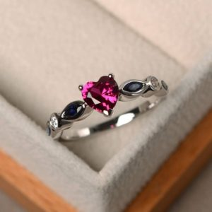 Shop Ruby Rings! Ruby rings, promise rings, July birthstone rings,heart cut red gemstone, silver rings, lovely rings | Natural genuine Ruby rings, simple unique handcrafted gemstone rings. #rings #jewelry #shopping #gift #handmade #fashion #style #affiliate #ad