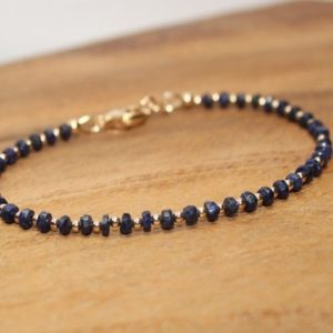 Sapphire Bracelet, Gold Filled Beads, Sapphire Jewelry, September Birthstone, Minimalist, Layering, Gemstone Jewelry | Natural genuine Sapphire bracelets. Buy crystal jewelry, handmade handcrafted artisan jewelry for women.  Unique handmade gift ideas. #jewelry #beadedbracelets #beadedjewelry #gift #shopping #handmadejewelry #fashion #style #product #bracelets #affiliate #ad