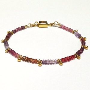 Shop Sapphire Bracelets! Sapphire Bracelet – Gold Vermeil – Multi-color – Gemstone Jewelry – Beaded – Dainty – Pink – Purple | Natural genuine Sapphire bracelets. Buy crystal jewelry, handmade handcrafted artisan jewelry for women.  Unique handmade gift ideas. #jewelry #beadedbracelets #beadedjewelry #gift #shopping #handmadejewelry #fashion #style #product #bracelets #affiliate #ad