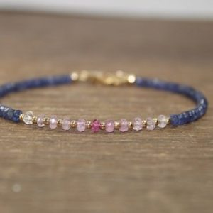 Shop Sapphire Bracelets! Pink & Blue Sapphire Bracelet, Sapphire Jewelry, September Birthstone, Gemstone, Gold or Silver Beads | Natural genuine Sapphire bracelets. Buy crystal jewelry, handmade handcrafted artisan jewelry for women.  Unique handmade gift ideas. #jewelry #beadedbracelets #beadedjewelry #gift #shopping #handmadejewelry #fashion #style #product #bracelets #affiliate #ad