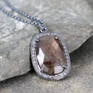 Shop Sapphire Pendants! Holiday Savings 2018 Chocolate Brown Sapphire And Raw Diamond Necklace – Sterling Silver – Halo Pendant – Rustic Jewellery – September Birth | Natural genuine gemstone jewelry in modern, chic, boho, elegant styles. Buy crystal handmade handcrafted artisan art jewelry & accessories. #jewelry #beaded #beadedjewelry #product #gifts #shopping #style #fashion #product