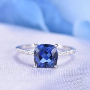 3ct Blue Sapphire Ring 8mm Cushion Cut Sapphire Engagement Ring Diamond Wedding Band Diamond Base Solid 14k White Gold Bridal Ring Custom | Natural genuine Array rings, simple unique alternative gemstone engagement rings. #rings #jewelry #bridal #wedding #jewelryaccessories #engagementrings #weddingideas #affiliate #ad