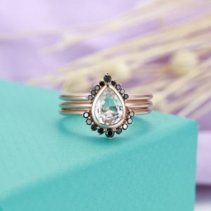 Shop Sapphire Rings! 3pcs White Topaz engagement ring Rose gold Black diamond wedding band Women Pear shaped Unique Stacking Matching Jewelry Anniversary | Natural genuine Sapphire rings, simple unique alternative gemstone engagement rings. #rings #jewelry #bridal #wedding #jewelryaccessories #engagementrings #weddingideas #affiliate #ad