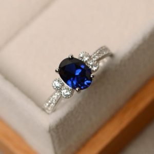 Sapphire ring, blue sapphire, oval cut ring, engagement ring, gemstone ring sapphire | Natural genuine Gemstone rings, simple unique alternative gemstone engagement rings. #rings #jewelry #bridal #wedding #jewelryaccessories #engagementrings #weddingideas #affiliate #ad