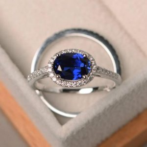 Shop Unique Sapphire Engagement Rings! Blue sapphire ring, promise ring, September birthstone, oval cut gemstone, blue gemstone, sterling silver ring | Natural genuine Sapphire rings, simple unique handcrafted gemstone rings. #rings #jewelry #shopping #gift #handmade #fashion #style #affiliate #ad