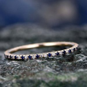 Shop Sapphire Rings! Natural Blue Sapphire Wedding Ring Band Solid 14k Rose Gold Petite Diamond Ring Full Eternity Tiny Stones V Pave 1.2mm Matching Bridal Band | Natural genuine Sapphire rings, simple unique alternative gemstone engagement rings. #rings #jewelry #bridal #wedding #jewelryaccessories #engagementrings #weddingideas #affiliate #ad