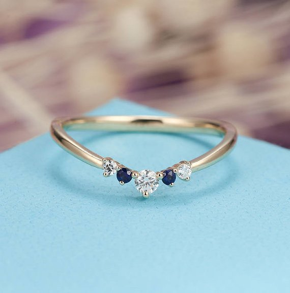 Sapphire Curved Wedding Band  Dainty Diamond Bridal Alternative Chevron Unique Promise Stacking Birthstone Matching Band Ring