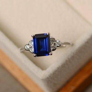 Shop Sapphire Rings! Sapphire ring, emerald cut ring, blue sapphire ring, silver 925, blue ring, promise ring for her | Natural genuine Sapphire rings, simple unique handcrafted gemstone rings. #rings #jewelry #shopping #gift #handmade #fashion #style #affiliate #ad