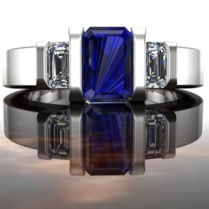Sapphire Engagement Ring, Emerald Cut Blue Sapphire and Diamonds in 14k White Gold | Natural genuine Gemstone rings, simple unique alternative gemstone engagement rings. #rings #jewelry #bridal #wedding #jewelryaccessories #engagementrings #weddingideas #affiliate #ad