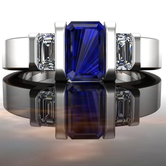 """Blue Sapphire Engagement Ring   Men's Or Women's Ring   14k Gold Or Platinum With Diamonds, Emerald Cut   """"icon"""""""