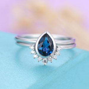 Shop Sapphire Rings! Sapphire Engagement Ring white Gold Vintage Diamond Wedding bands  Bridal set  Simple Pear Shaped Cut Delicate Stacking Drop | Natural genuine Sapphire rings, simple unique alternative gemstone engagement rings. #rings #jewelry #bridal #wedding #jewelryaccessories #engagementrings #weddingideas #affiliate #ad