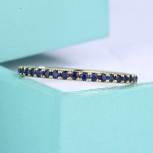 Sapphire Full Eternity band Wedding Band  white Gold Thin Dainty stacking matching Everyday rings promise birthstone simple Pave Anniversary | Natural genuine Gemstone rings, simple unique alternative gemstone engagement rings. #rings #jewelry #bridal #wedding #jewelryaccessories #engagementrings #weddingideas #affiliate #ad