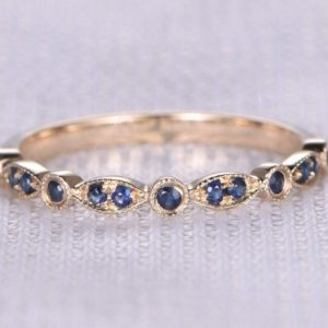 Shop Sapphire Rings! Natural Sapphire Wedding Ring Anniversary Ring Art Deco Antique 14k Yellow Gold Half Eternity Band Personalized for her/him Custom ring | Natural genuine Sapphire rings, simple unique alternative gemstone engagement rings. #rings #jewelry #bridal #wedding #jewelryaccessories #engagementrings #weddingideas #affiliate #ad