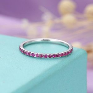 Pink Sapphire Wedding Band women Full Eternity Stacking ring simple Sapphire Jewelry Birthstone Pave Anniversary Everyday matching band | Natural genuine Gemstone rings, simple unique alternative gemstone engagement rings. #rings #jewelry #bridal #wedding #jewelryaccessories #engagementrings #weddingideas #affiliate #ad