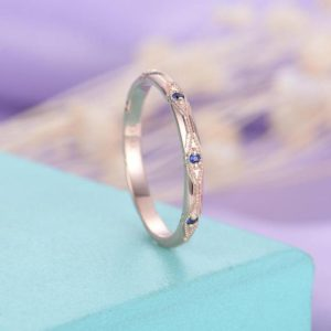 Shop Sapphire Rings! Vintage wedding band Sapphire wedding band Rose gold Women Unique Antique Art deco Bridal Jewelry Stacking Matching Anniversary gift for her | Natural genuine Sapphire rings, simple unique alternative gemstone engagement rings. #rings #jewelry #bridal #wedding #jewelryaccessories #engagementrings #weddingideas #affiliate #ad