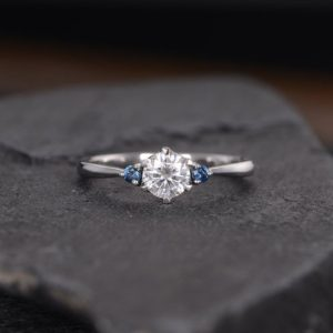 Shop Sapphire Rings! White Gold Three Stone Moissanite Engagement Ring Natural Sapphire 3 Stone Bridal Wedding Women Anniversary Gift For Her Gift | Natural genuine Sapphire rings, simple unique alternative gemstone engagement rings. #rings #jewelry #bridal #wedding #jewelryaccessories #engagementrings #weddingideas #affiliate #ad