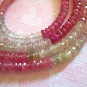 Shop Sapphire Rondelle Beads! 10-50 pcs / UMBA SAPPHIRE Gems Gemstone Rondelles / Luxe AAA, Pink n Platinum Gray, 4-4.25 mm, Natural Undyed, september birthstone tr s | Natural genuine rondelle Sapphire beads for beading and jewelry making.  #jewelry #beads #beadedjewelry #diyjewelry #jewelrymaking #beadstore #beading #affiliate #ad